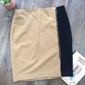 Ann Taylor Khaki & Black Pencil Gold Zipper Skirt